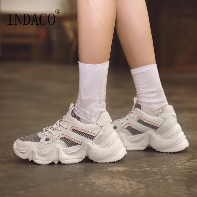 Women Sneakers Genuine Leather White Shoes Woman Fashion Platform 6cm