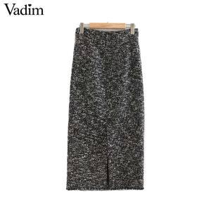 Image 2 - Vadim נשים אלגנטי טוויד midi חצאית חזרה פיצול כיסים אירופאי סגנון משרד ללבוש בסיסי מפנק נקבה מקרית חצאיות BA858