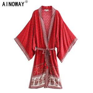 Image 1 - Vintage chic Donne Stampa Floreale rosso Fiocchi E Fasce della boemia Kimono Donna Con Scollo A V dei Manicotti del batwing Boho Maxi dress robe