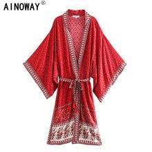 Vintage chique feminino vermelho floral impressão faixas boêmio quimono senhoras v pescoço batwing mangas boho maxi vestido robe