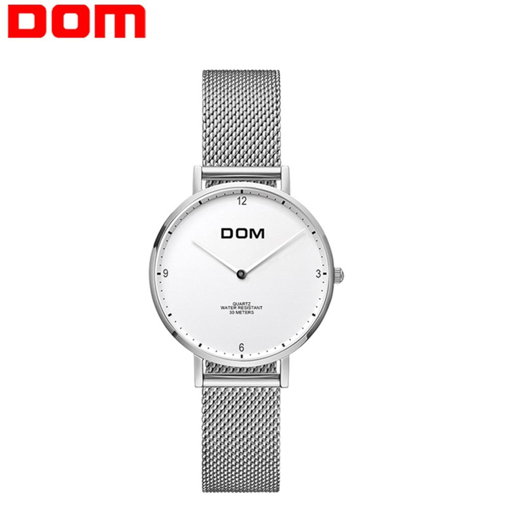DOM Women Watch Top Brand Luxury Quartz watch Casual Simple Steel Mesh Strap Ultra Thin Clock Female Waterproof Watch G-36D-7MS