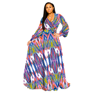 Image 5 - S 5XL Plus Size African Dresses For Women Robe Loose Dress Dashiki Floral Print Lady Africa Clothing Gown For Women