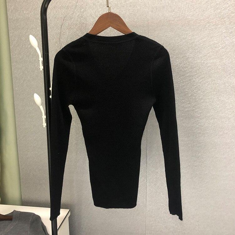 2019 automne chandail nouveau solide couleur Simple corps V Leader manches laine tricoté maillot de bain col en V pulls noir femmes pull