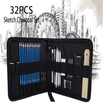 32pcs Beginner Professional Sketch Complete Set Of Wood Brush Art Painting Tool Set Comic Charcoal Pencil Art Supporting sketch pencil set charcoal full set of student entry tools painting professional beginner drawing art supplies