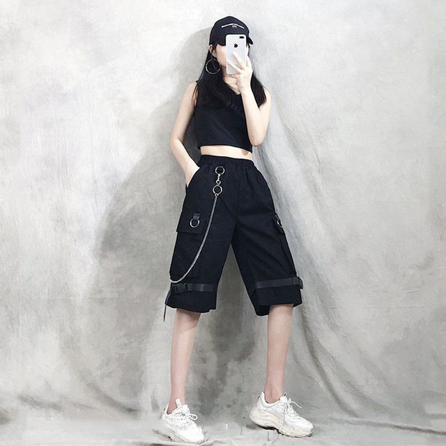 Harajuku Streetwear Women Casual Harem shorts With Chain Solid Black Cargo Gothic Cool Fashion Hip Hop Long Trousers Capris 3