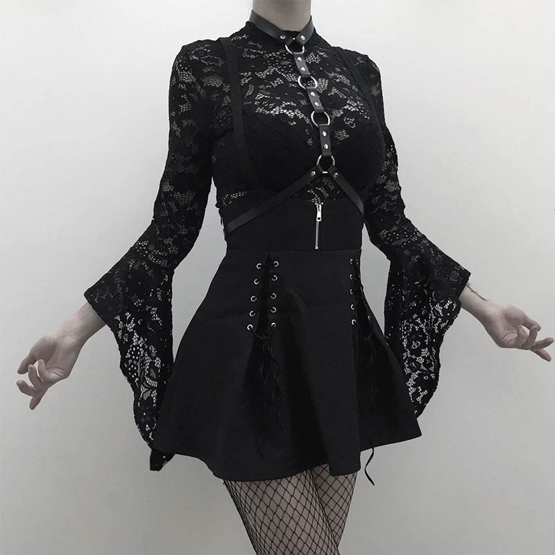 Woman Sets <font><b>Black</b></font> Two Piece Goth <font><b>Sexy</b></font> <font><b>Lace</b></font> <font><b>Bodysuit</b></font> Rompers Suspender <font><b>Lace</b></font> Up See Through Club Wear Girl Set image