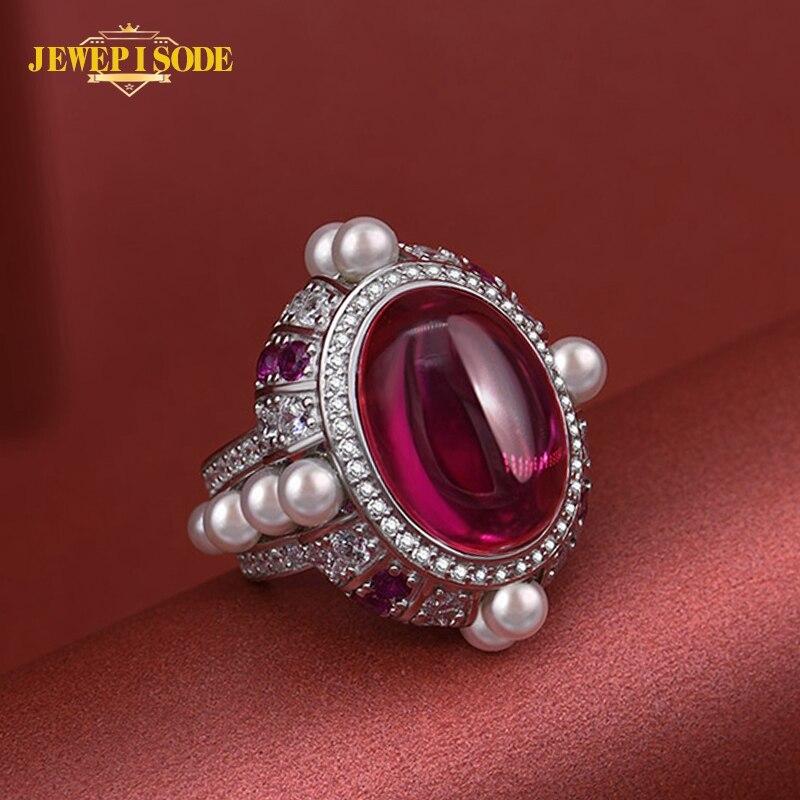 Jeweépisode 13*18MM ovale rubis perle anneau femmes véritable 925 en argent Sterling mariée mariage bague de fiançailles en gros bijoux fins