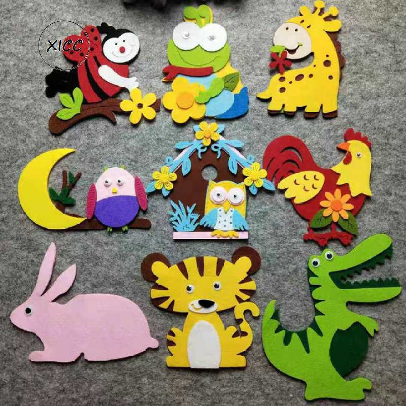 XICC Cartoon Animal Thick Nonwoven Felt DIY Package Bee Giraffe Dinosaur Frog Tiger Chicken House Rabbit Owl Wall Stickers Decor
