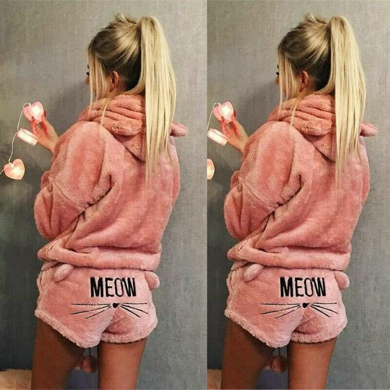 Meihuida Winter Women Cute Flannel Pajamas Set Bear Hooded Pajamas + Shorts Winter Warm Coral Fleece Sleepwear Sets