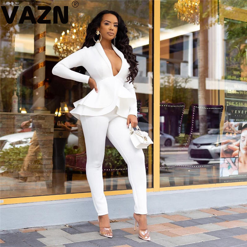 VAZN Solid Cover Belly Suit V-Neck Through Fashion Full Sleeve Long Pants 2020 Bandage Women Sexy High 2 Piece Women Set