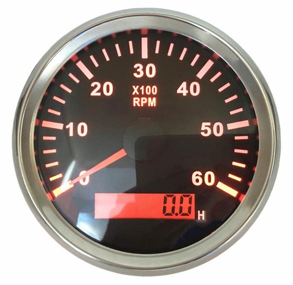 EURO WHITE 6000 RPM Standard Ignition Tachometer