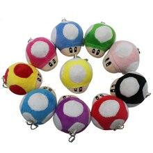 цена на 8CM1PCS Super Mary Mushroom Plush Toy Japanese Anime Mario Doll 10 Colors Mushroom Filled Keychain Pendant