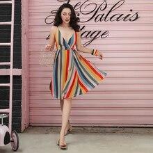 2019 hermoso Color del arco iris de la vendimia de seda de simulación elegante V profundo de corte bajo de la rodilla de gasa vestido Sexy mujeres