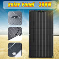 Panel Solar 300W 12V batería Cargador Solar para teléfono sistema de energía Kit completo Flexible portátil A monocristalino coche recargable