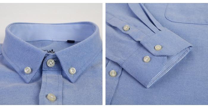 Hd98b199f0cf04d15a12657797e35d26c0 Men's Plus Size Casual Solid Oxford Dress Shirt Single Patch Pocket Long Sleeve Regular-fit Button-down Thick Shirts