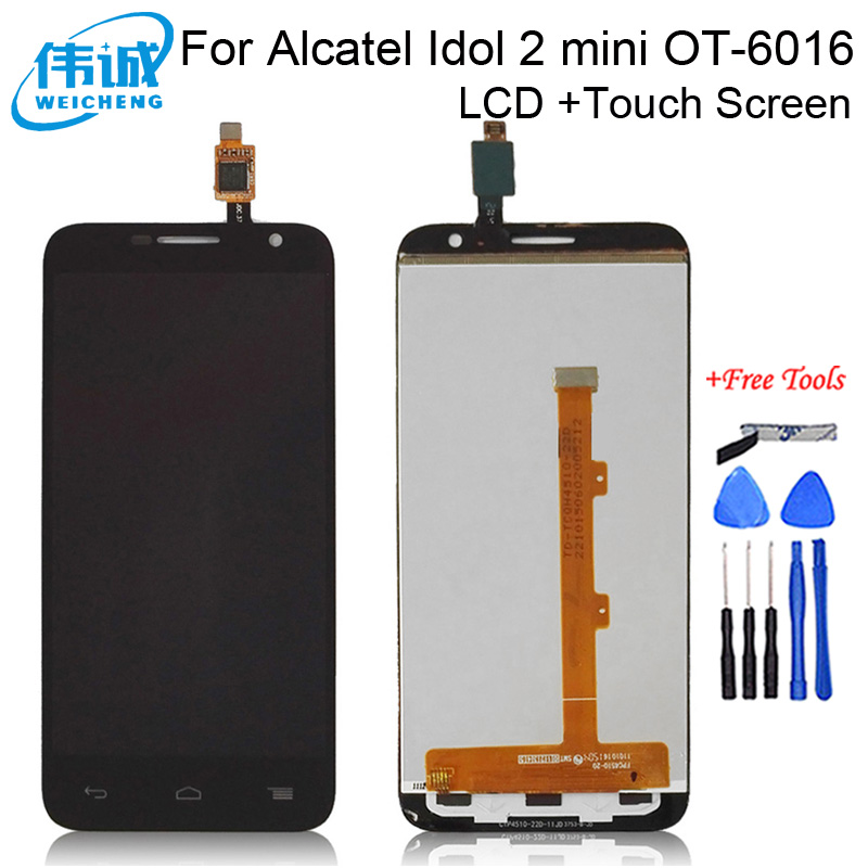 HIgh Quality Full LCD display+touch screen digitizer assembly <font><b>For</b></font> <font><b>Alcatel</b></font> One Touch Idol 2 mini 6016 OT-6016A 6016X 6016E <font><b>6016D</b></font> image