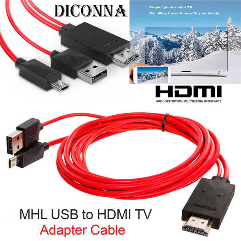 2m MHL do HDMI adapter Micro USB na HDMI 1080P HD kabel telewizyjny adaptery do Samsung S3 S4 S5 note2 3 4 telefonu z systemem Android 11PIN Dropship