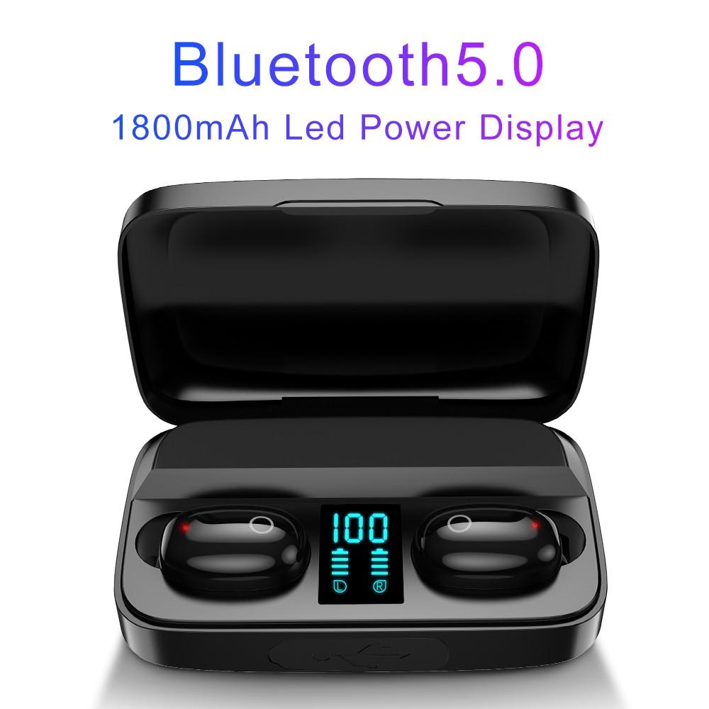 Image 2 - AWI W2S Wireless Earphone 1800mAh Bluetooth 5.0 TWS Headsets LED  Display with Power Bank Headphones Hifi Stereo Sport EarbudsBluetooth  Earphones