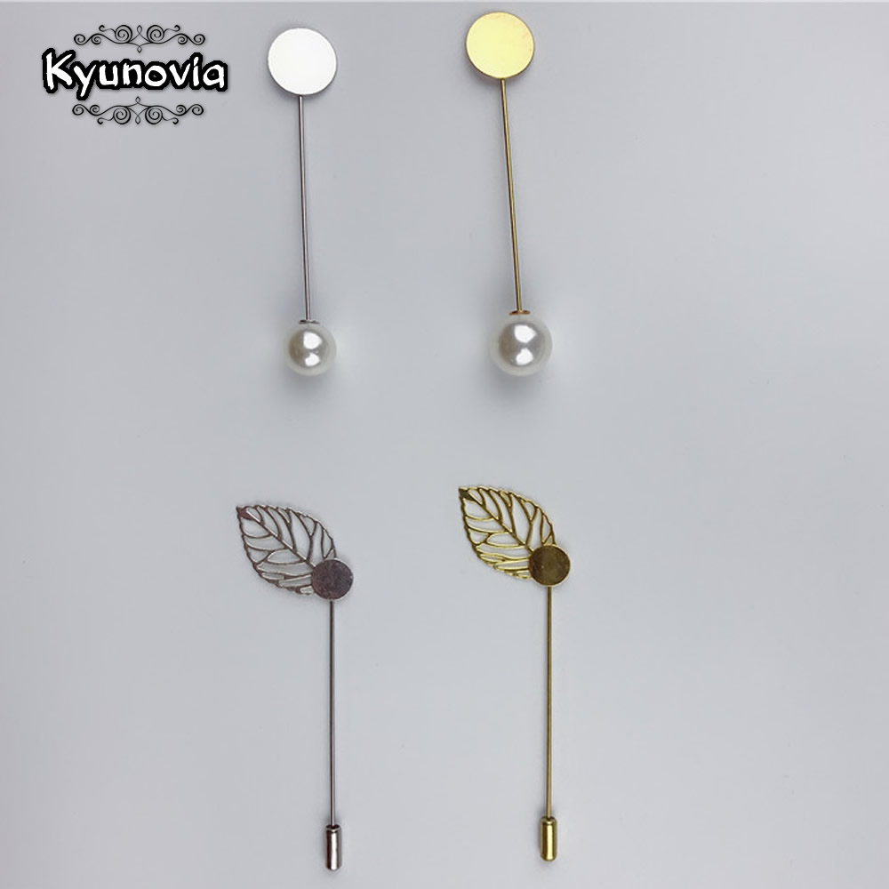 Kyunovia 10pcs DIY Boutonnieres Lapel Long Brooch Pin Pearl Lapel Dress Jewelry Making Accessories Base Blank Tray Brooches D147