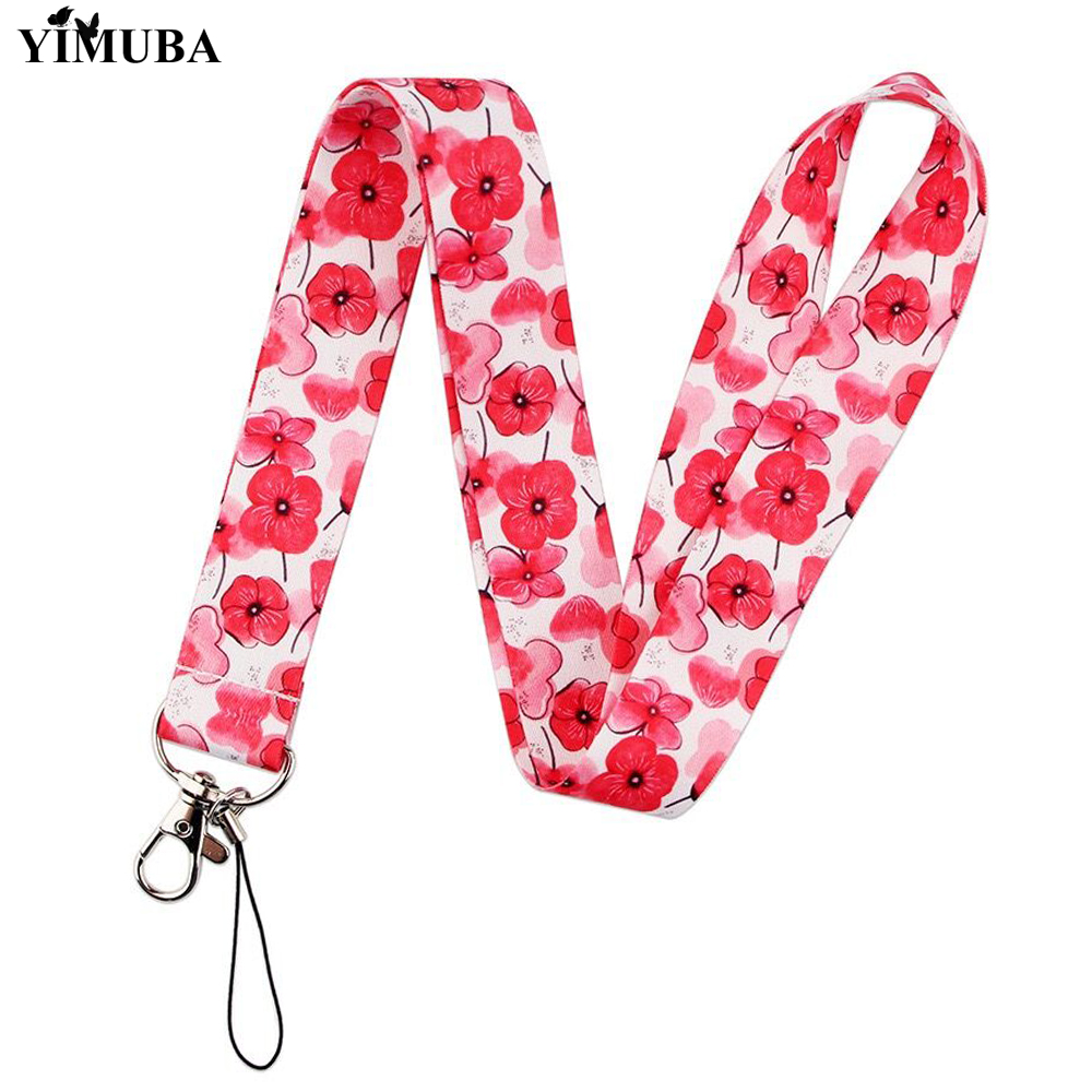 Beautiful Red Poppies Flowers Print Lanyards Key Chain Mobile Phone Neck Straps ID Card Badge Holder Key Accessories Women Gift