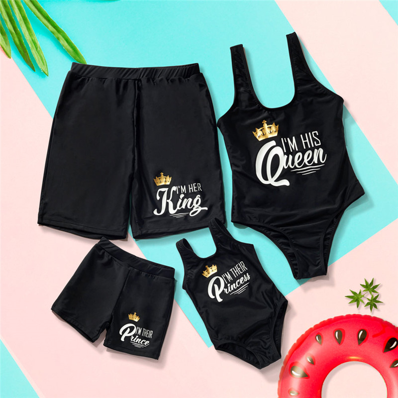 Family Matching Swimsuits Mother Daughter Swimwear Mom Dad and Me Boys Girls Father Son Swim Trunks Palm Tree Couples Beachwear