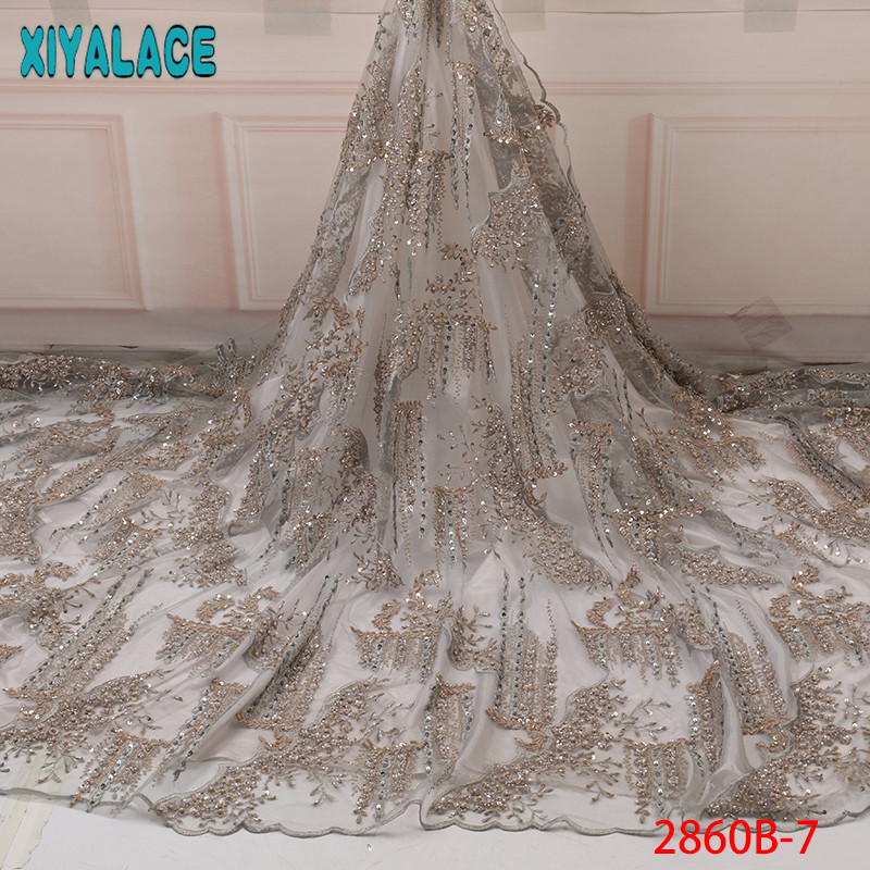 High Quality Handmade Beads Tulle Lace,French Beaded Lace Fabrics 2019,Luxury Lace New Heavy Dresses KS2860B-7