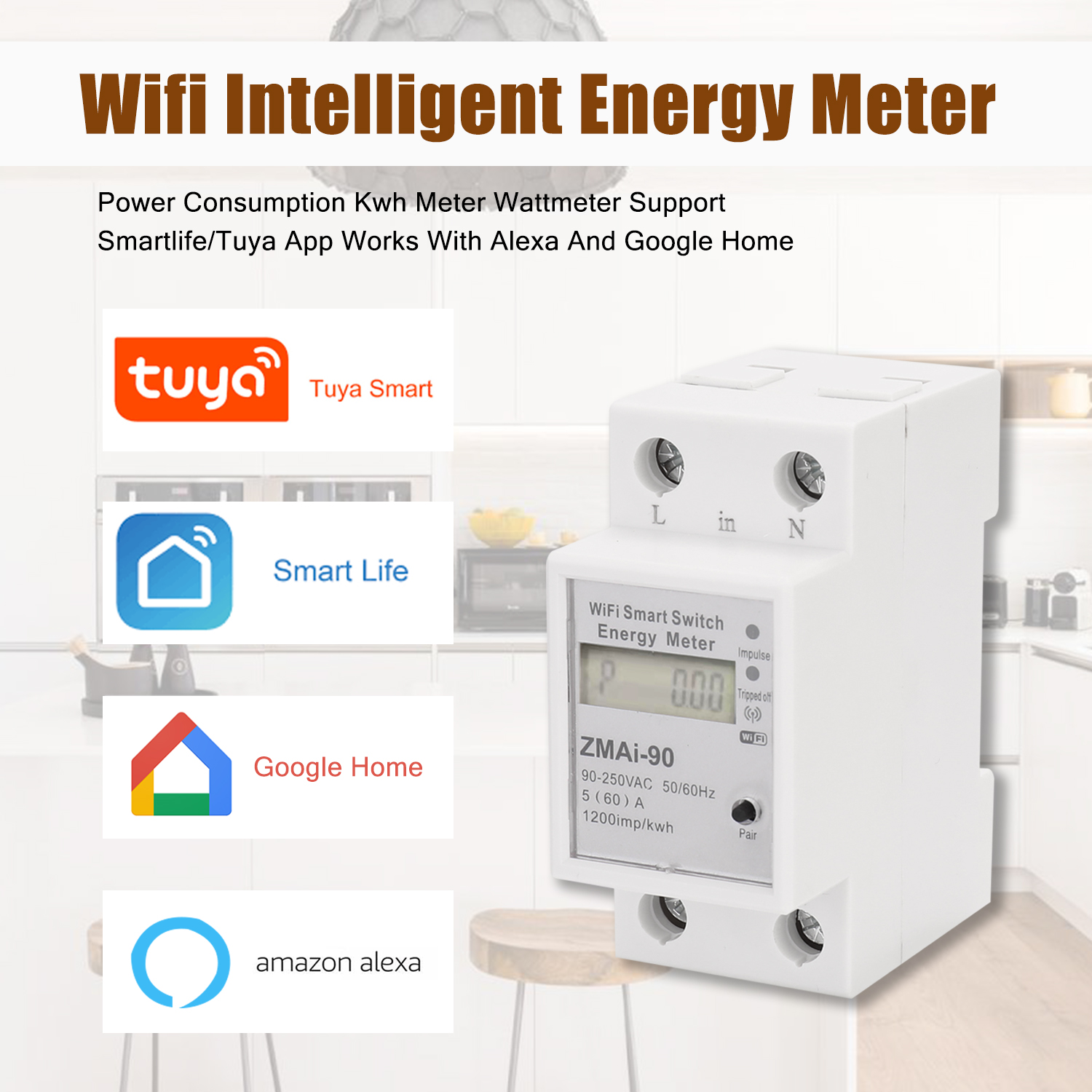 Single Phase Din Rail Wifi Smart Energy Meter Power Consumption Kwh Meter Wattmeter Support Smartlife/Tuya App Alexa Google Home