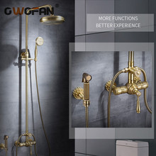 Shower Faucets Luxury Brass Rain Shower Set Dural Handle Wall Mount Gold Bathroom Faucet With Slide Bar Bathtub Faucet 88316 wall mount adjust height sliding bar shower faucet set wall mount rotate tub spout with soap dish antique brass finish