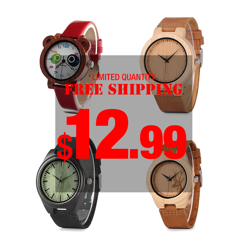 BOBO BIRD  Clearance Sale Wood Watch Men Ladies Promotion Quartz Wristwatches Male Women Leather Strap Relogio Masculino