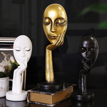 Thinking Lady Face Abstract Art Sculpture Nature Resin Office Craft Ornaments Tableware Figurine For Home Room Decorations