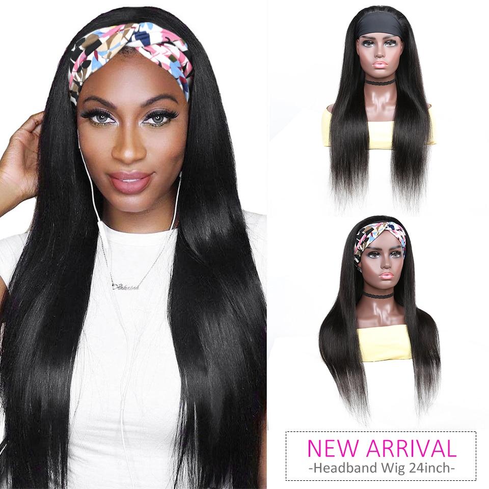YYong Grip HeadBand Straight Wigs 100%  Wig  Striaight Headband Wig 8-24inch Crochet Machine Wig Free Scarf 1
