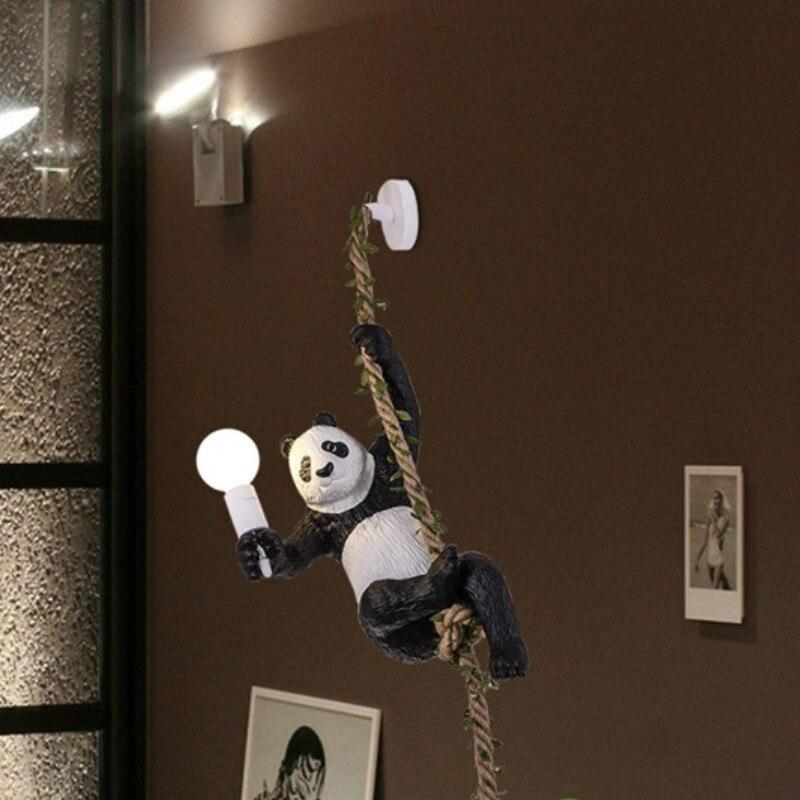 Nordic anhänger lampe kreative Schöne zoo dekoriert mit hanf seil panda kronleuchter restaurant homestay holz haus anhänger lampe-in Pendelleuchten aus Licht & Beleuchtung bei title=