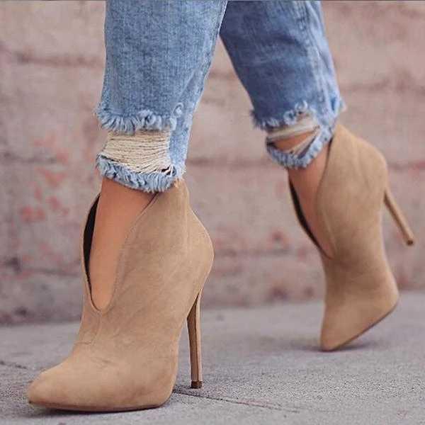 Vertvie seksi kadın botları 2019 sonbahar v yaka yüksek topuklu ayak bileği ayakkabı çizmeler deri patik Feminina kadın düğün parti ayakkabıları