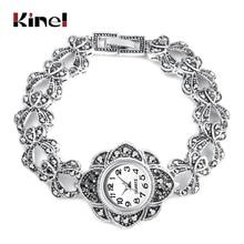 Kinel Luxury Antique Tibetan Silver Wrist Watch Turkish Rhinestone Bracelet For