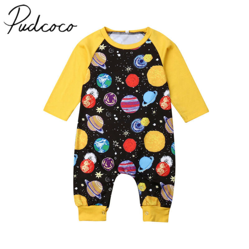 2019 Baby Spring Autumn Clothing Infant Baby Boy Girls Galaxy Pint Playsuit Long Sleeve Romper Colorful Clothes Jumpsuit Outfit