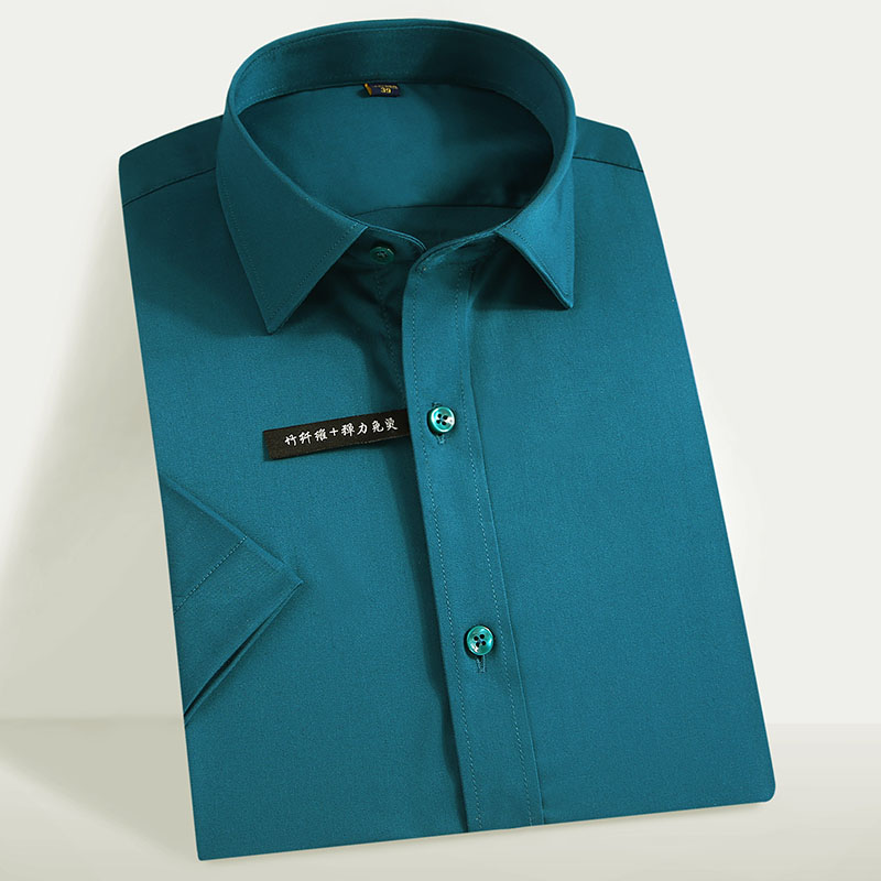 Men's Stretch Easy Care Basic Dress Shirts Comfortable Soft Bamboo Fiber Thin Summer Casual Short Sleeve Regular-fit Tops Shirt