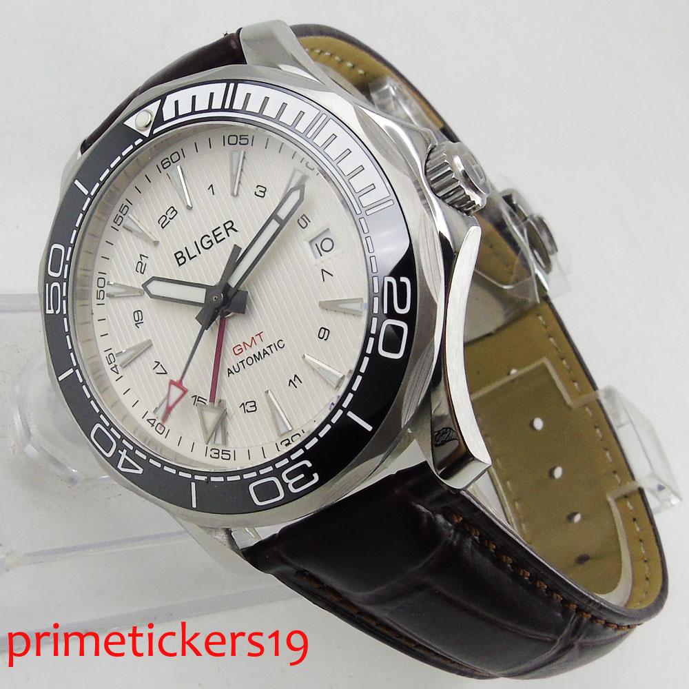 41mm BLIGER ceramic bezel GMT luxury sapphire glass date window automatic movement mens watch 300