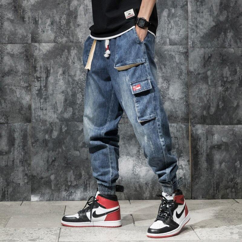 Japanese Style Fashion Men Jeans Loose Fit Blue Color Multi Pockets Cargo Pants Slack Bottom Streetwear Hip Hop Jeans Men Jogger