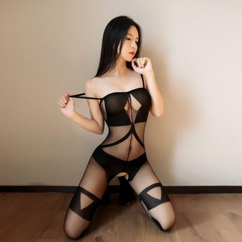 Women Transparent Nylon Sexy Babysuit Erotic Hot Lingerie Porno Underwear Teddy BodyStockings Costumes Sex Clothes Mesh Catsuit