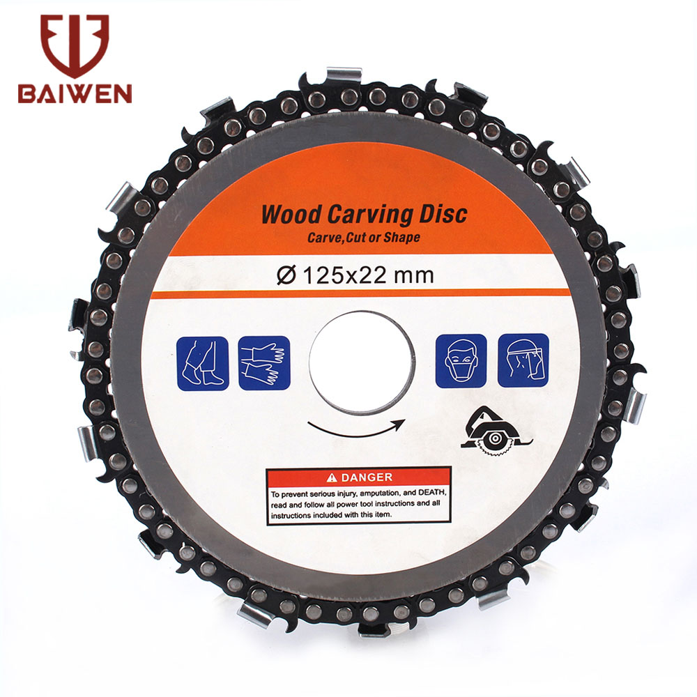 5 Inch 14000rpm Grinder Disc Fine Chain Saw Blade  Angle Carving Culpting Wood Grinder Chain Disc For 125mm Angle Grinder