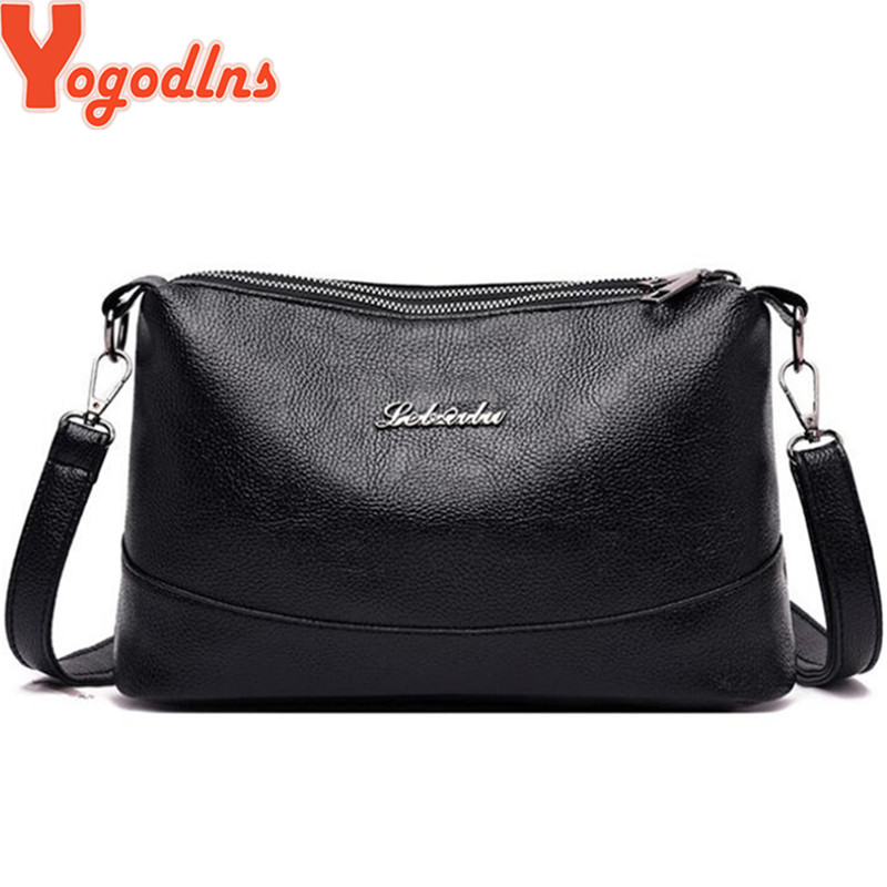 Yogodlns Double Pockets Sling Bags Soft PU Leather Women Crossbody Bag With Two Strap Shoulder Female Messenger Bags Black