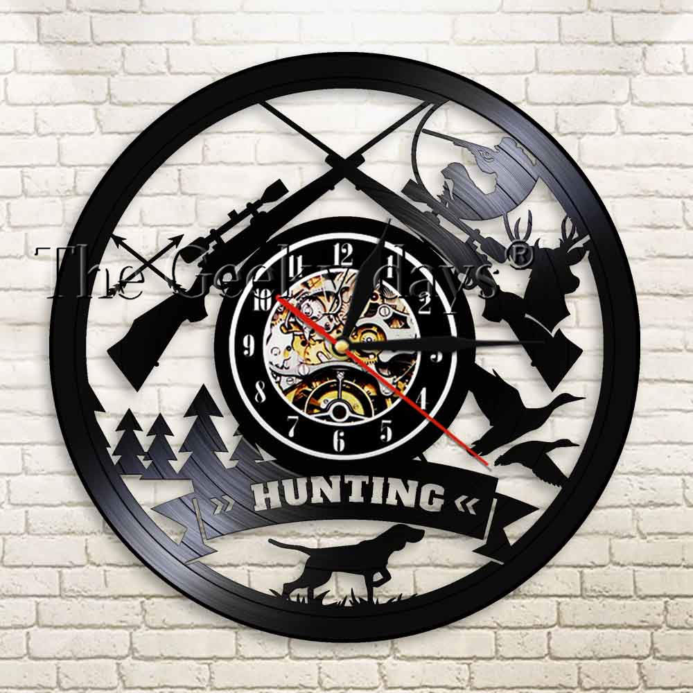 Animal Hunting Adventure Shadow Art Wall Clock Hunting Logo Rifle Pistol Gun Calming Light Pheasant Duck Hunters Novelty Gift