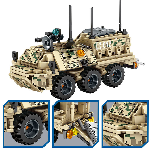 City Military Armored Ambulance Truck Building Blocks for Technic WW2 VT-4 Main Battle Tank Figures Bricks Toys For Boys