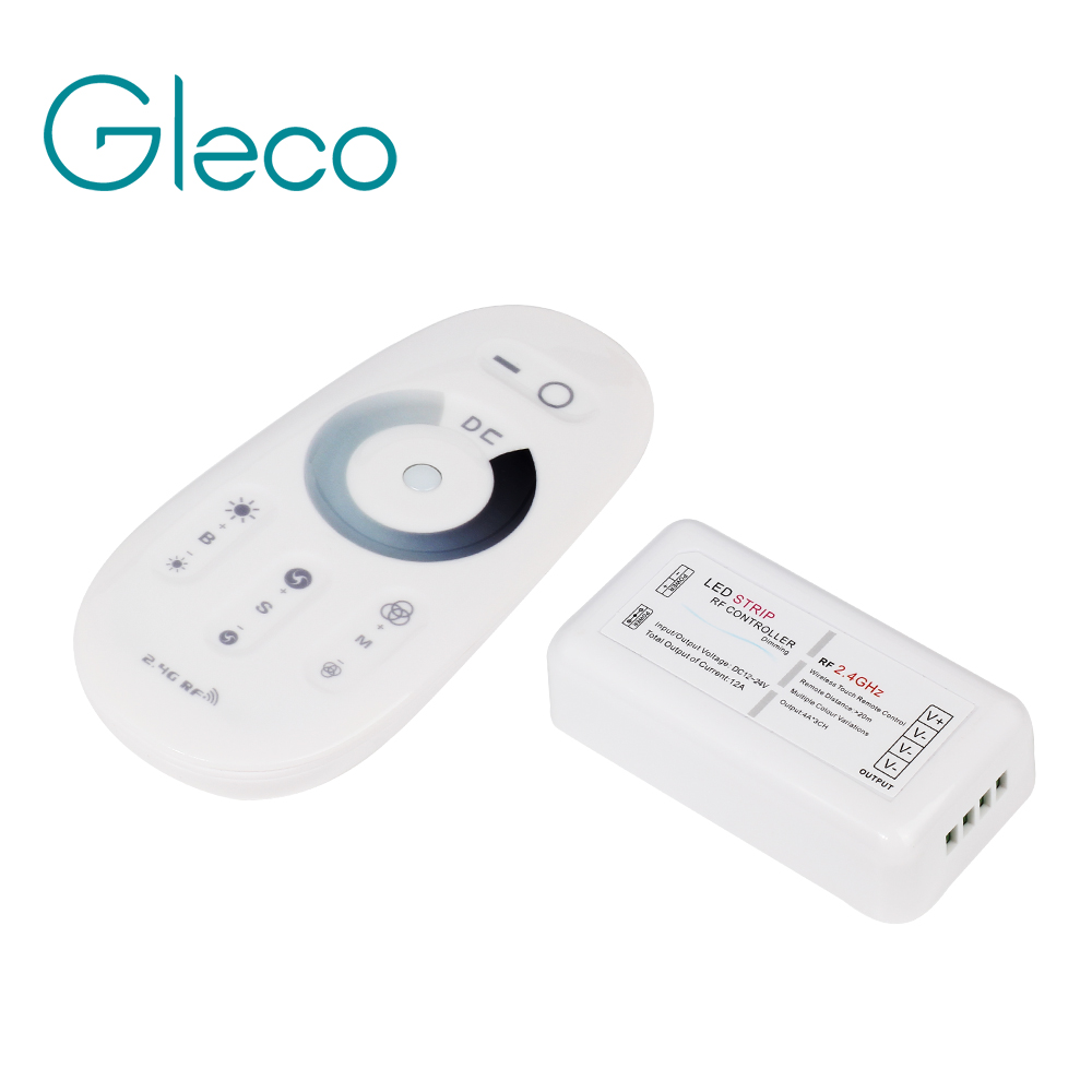 DC12V-24V Max 12A RF 2.4G Dimmer Led Strip Controller Wireless Touch Remote Control For Single Color / CCT For LED Strip 5050