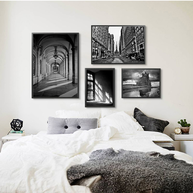 Nordic City Poster Black And White Canvas Painting Street Art Picture Abstract Painting Wall Pictures For Living Room Unframed