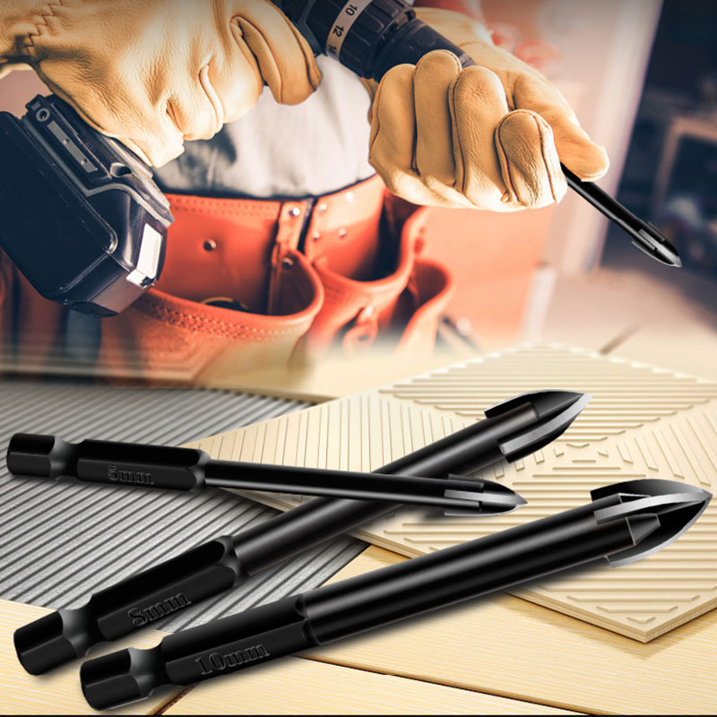 BINOAX Glass Drill Bit Set Alloy Carbide Point With 4 Cutting Edges Tile & Glass Cross Spear Head Drill Bits
