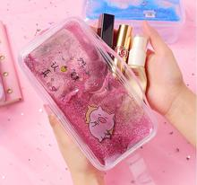 Cute PVC Pig Pencil Case Colorful Transparent Quicksand Girl Cosmetic Bag Pen Creative Mermaid Stationery School Supplies