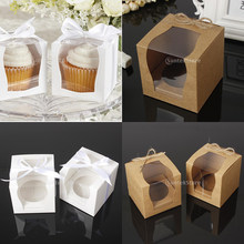 12 adet/takım Vintage kağıt kek Cupcake kutusu fırın kutusu pencere kağıdı halat doğum günü düğün Favor hediye Mini kutu ambalaj