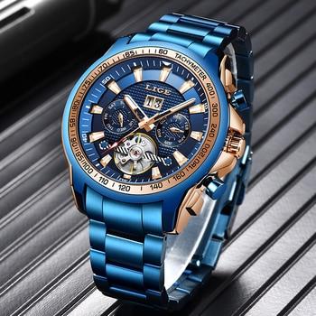 LIGE 2020 Blue Fashion Mens Watches Top Brand Luxury Men Mechanical Wristwatches Waterproof Sport Automatic Mechanical Clock+Box switzerland nesun women s watches luxury brand clock automatic mechanical wristwatches waterproof relogio feminino n9073 2