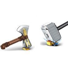 New Thanos Infinity Gauntlet Mjolnir Marvel Stormbreaker Fit Lepinings Avengers Weapon Building Blocks Bricks Kids Toys Gift